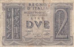 BIGLIETTO DI STATO  ITALIA 2 LIRE -  F (BN131 - [ 1] …-1946: Königreich