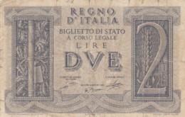 BIGLIETTO DI STATO  ITALIA 2 LIRE -  F (BN132 - [ 1] …-1946 : Regno