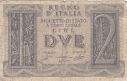BIGLIETTO DI STATO  ITALIA 2 LIRE -  F (BN133 - [ 1] …-1946: Königreich