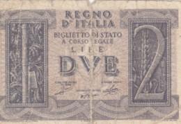 BIGLIETTO DI STATO  ITALIA 2 LIRE -  F (BN135 - [ 1] …-1946: Königreich