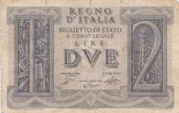 BIGLIETTO DI STATO  ITALIA 2 LIRE -  F (BN136 - [ 1] …-1946 : Regno