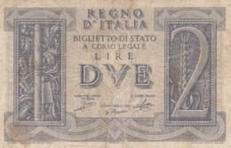 BIGLIETTO DI STATO  ITALIA 2 LIRE -  F (BN138 - [ 1] …-1946: Königreich