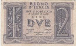 BIGLIETTO DI STATO  ITALIA 2 LIRE -  F (BN139 - [ 1] …-1946 : Regno