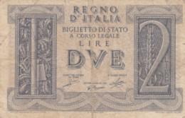 BIGLIETTO DI STATO  ITALIA 2 LIRE -  F (BN140 - [ 1] …-1946 : Regno