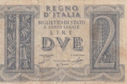 BIGLIETTO DI STATO  ITALIA 2 LIRE -  F (BN141 - [ 1] …-1946: Königreich