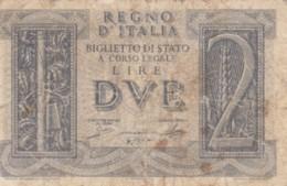 BIGLIETTO DI STATO  ITALIA 2 LIRE -  F (BN142 - [ 1] …-1946: Königreich