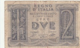 BIGLIETTO DI STATO  ITALIA 2 LIRE -  F (BN143 - [ 1] …-1946 : Regno
