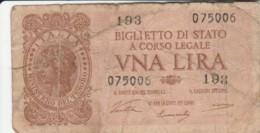 BIGLIETTO DI STATO  ITALIA 1 LIRA - F (BN145 - Italia – 1 Lira