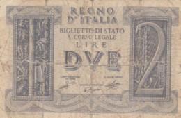 BIGLIETTO DI STATO  ITALIA 2 LIRE -  F (BN144 - [ 1] …-1946: Königreich