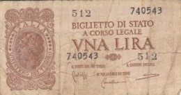 BIGLIETTO DI STATO  ITALIA 1 LIRA - F (BN146 - [ 1] …-1946: Königreich