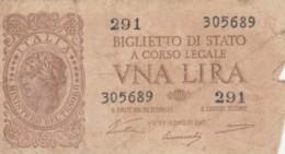 BIGLIETTO DI STATO  ITALIA 1 LIRA - F (BN147 - [ 1] …-1946: Königreich