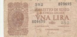 BIGLIETTO DI STATO  ITALIA 1 LIRA - F (BN149 - [ 1] …-1946: Königreich