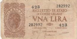 BIGLIETTO DI STATO  ITALIA 1 LIRA - F (BN150 - [ 1] …-1946: Königreich