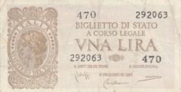 BIGLIETTO DI STATO  ITALIA 1 LIRA - F (BN151 - [ 1] …-1946: Königreich