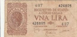 BIGLIETTO DI STATO  ITALIA 1 LIRA - F (BN153 - Italia – 1 Lira
