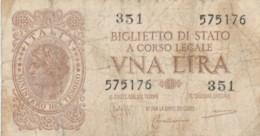 BIGLIETTO DI STATO  ITALIA 1 LIRA - F (BN154 - [ 1] …-1946: Königreich