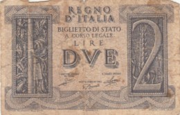 BIGLIETTO DI STATO  ITALIA 2 LIRE -  F (BN159 - [ 1] …-1946: Königreich