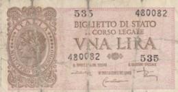 BIGLIETTO DI STATO  ITALIA 1 LIRA - F (BN161 - Italia – 1 Lira