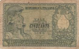 BIGLIETTO DI STATO  ITALIA 50 LIRE - F (BN160 - [ 2] 1946-… : Repubblica