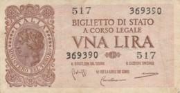 BIGLIETTO DI STATO  ITALIA 1 LIRA - F (BN162 - Italia – 1 Lira