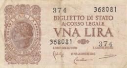 BIGLIETTO DI STATO  ITALIA 1 LIRA - F (BN166 - [ 1] …-1946: Königreich