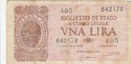 BIGLIETTO DI STATO  ITALIA 1 LIRA - F (BN167 - Italia – 1 Lira