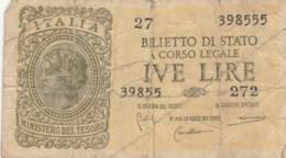 BIGLIETTO DI STATO  ITALIA 2 LIRE -  F (BN168 - [ 1] …-1946 : Royaume