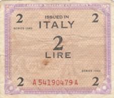 BIGLIETTO  ITALIA 2 LIRE -  F (BN174 - Occupazione Alleata Seconda Guerra Mondiale
