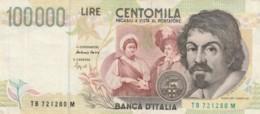 BANCONOTA - ITALIA 100000 LIRE-CARAVAGGIO- VF (BN183 - [ 2] 1946-… : Républic