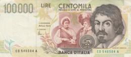 BANCONOTA - ITALIA 100000 LIRE-CARAVAGGIO- EF (BN184 - [ 2] 1946-… : Républic