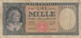 BANCONOTA - ITALIA 1000 LIRE -TESTINA-1947-  VF (BN185 - [ 2] 1946-… : République