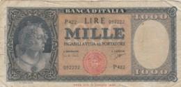 BANCONOTA - ITALIA 1000 LIRE -TESTINA 25-9-61-DECR.MIN. 1947-  VF (BN186 - 1000 Lire