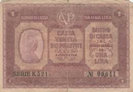 CASSA VENETA DEI PRESTITI-   UNA LIRA  (BN198 - [ 4] Emissions Provisionelles