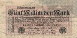 BANCONOTA - GERMANIA 5 MILIARDI MARCHI-1923- F (BN232 - [ 3] 1918-1933 : Repubblica  Di Weimar