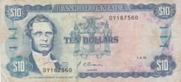BANCONOTA - JAMAICA (piccoo Strappo In Basso) 10 DOLLARI F (BN243 - Jamaica