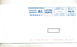 Lettre Flamme Ema Bayonne Faculté - Storia Postale
