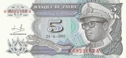BANCONOTA - ZAIRE 5 MAKUTA UNC (BN285 - Zaire