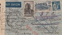 France Lettre N° 392 Et 393 A Destination Du Cambodge Via Lisbonne Par San Fransisco Puis Hong Kong Censuré Aller Retour - Postmark Collection (Covers)