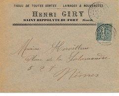 LETTRE 15C SEMEUSE LIGNÉE HENRI GIRY SAINT HIPPOLYTE DU FORT GARD - Poststempel (Briefe)