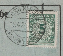 Deutsches Reich Karte Mit Tagesstempel Ostenfelde Kr Warendorf 1924 Stadt Ennigerloh Mit Werbung - Brieven En Documenten