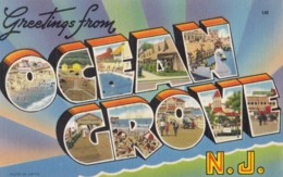 AR81 Greetings From Ocean Grove, N.J. - Linen Multiview Postcard - Other