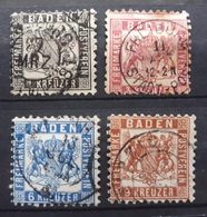 Baden 1862, Mi 17-20 Gestempelt - Baden