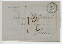 Lettre De Tunis Pour Paris En 1859 : Type 22 De Tunis Le 14 Août 1859 - Other