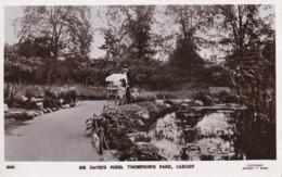 AT08 Sir David's Pond, Thompson's Park, Cardiff - RPPC - Glamorgan