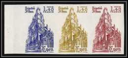 France N°2132 St Jean De Lyon Eglise Church Bande De 3 Essai (trial Color Proof) Non Dentelé (imperforate) ** MNH - Proofs
