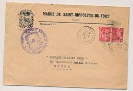 LETTRE MAIRIE DE SAINT HIPPOLYTE DU FORT GARD MERCURE IRIS TARIF À 1F30 - Poststempel (Briefe)