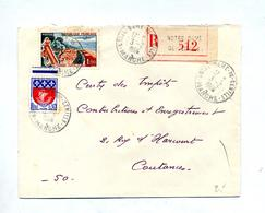 Lettre Recommandée Notre Dame De Cenilly Sur Touquet Paris - Marcophilie (Lettres)