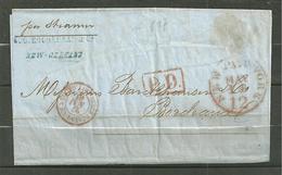 LETTRE 1861 CACHET ROUGE NEW YORK PAYE + PD + SERV 3 ETATS UNIS CALAIS + CACHET PARIS ET BORDEAUX 1861 - Correo Marítimo