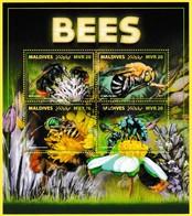 Bloc Oblitéré - Bees Abeilles Bombus Lapidarius Amegilla Cingulata Agapostemon Texanus Thyreus Nitidulus - Maldives 2017 - Maldives (1965-...)