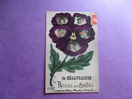 CPA 52 CHALVRAINES FANTAISIE FLEUR PENSEE PORTRAIT JEUNES FEMMES RECEVEZ MES AMITIES - France